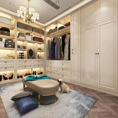 衣帽间, 简欧, 衣柜, 衣服, 服饰, 凳子, 狗, 地毯