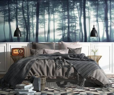 卧室, 床, 北欧, 摆件