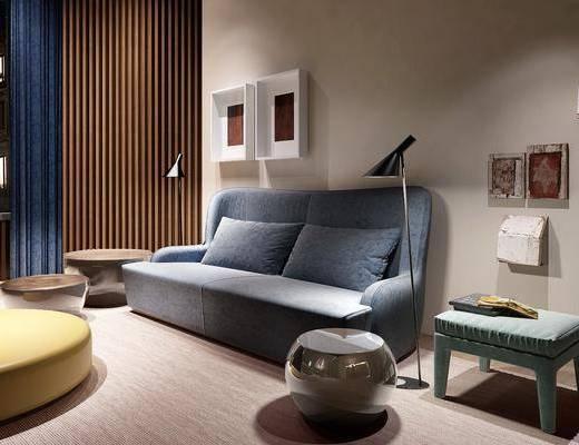 沙发组合, 现代沙发组合, 落地灯, 挂画, 摆件, 茶几, 墙饰, 现代