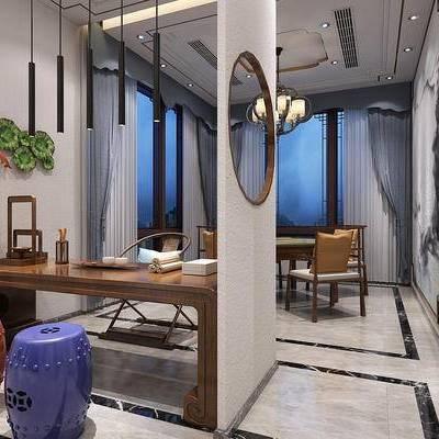 茶室, 中式吊灯, 凳子, 茶桌, 墙饰