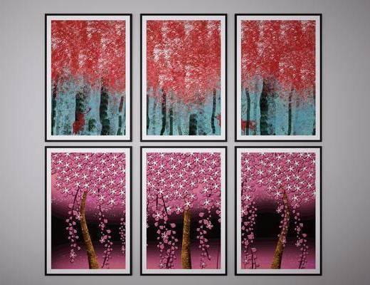 抽象画, 挂画, 风景画组合