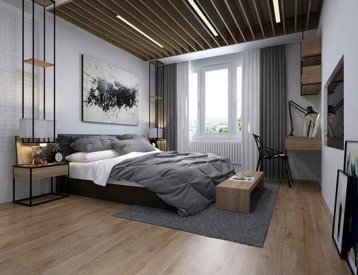 双人床, 装饰画, 地毯, 床头柜, 桌椅组合