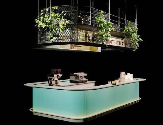北欧现代简约咖啡厅吧台