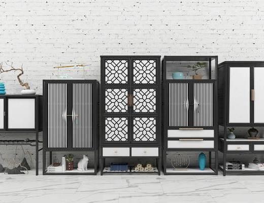 边柜, 玄关柜, 装饰柜, 摆件, 装饰品, 瓷器, 陈设品, 花瓶, 花卉, 新中式