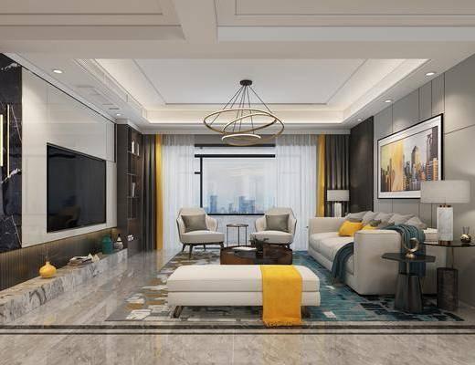 沙发组合, 装饰画, 吊灯, 餐桌, 边几, 台灯
