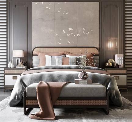 双人床, 床具组合, 床头柜, 背景墙, 床尾踏