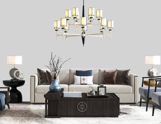 沙发组合, 新中式沙发组合, 中式沙发组合, 沙发茶几组合
