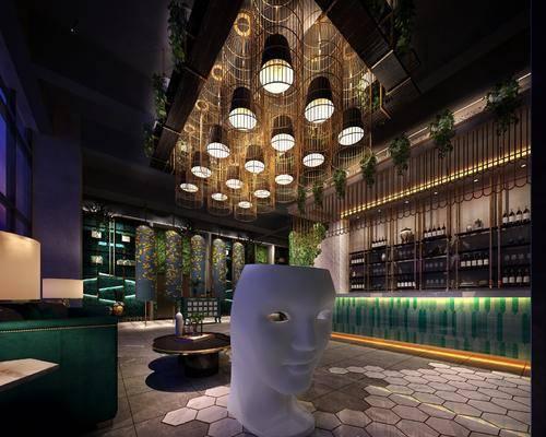 火锅店, 东南亚火锅店, 餐桌椅组合, 植物, 绿植, 前台