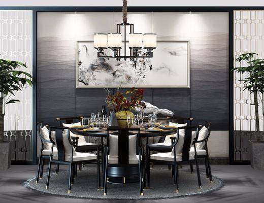 餐桌, 餐椅, 单人椅, 餐具, 盆栽, 绿植植物, 吊灯, 花瓶花卉, 装饰画, 挂画, 中式