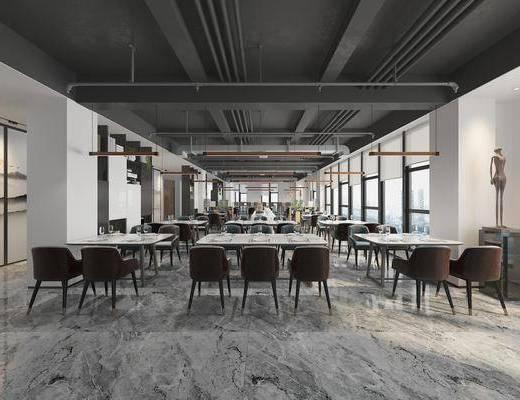 自助餐厅, 餐桌椅组合, 餐具组合, 现代