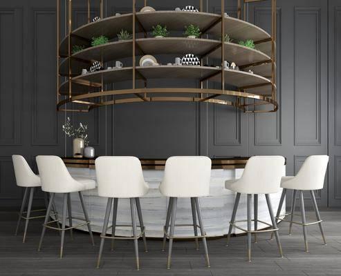 吧台, 吧椅, 现代吧台吧椅组合, 酒架, 弧形