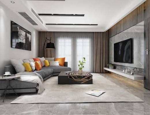 现代客厅, 茶几, 多人沙发组合, 电视墙, 挂画, 空调, 落地灯