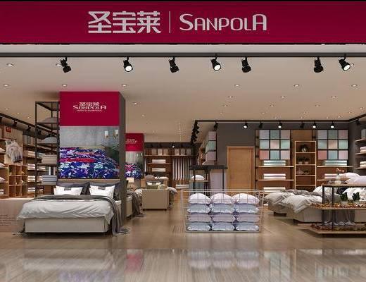 家纺店, 被子, 床, 枕头, 现代