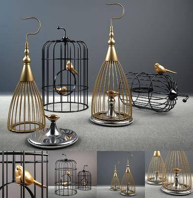 金属鸟笼, 摆件组合, 北欧