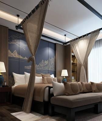 卧室, 中式卧室, 新中式, 床尾凳, 床帘, 台灯