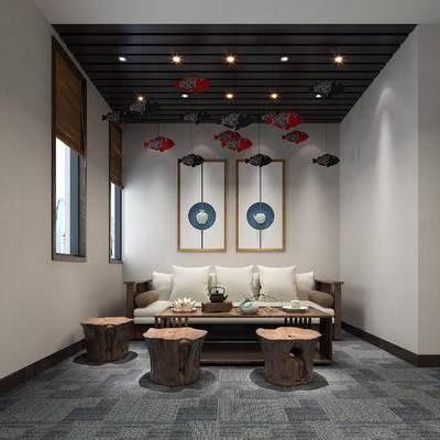 茶室, 休息室, 接待室, 禅意, 装饰画