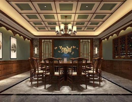 包厢, 圆桌, 单人椅, 餐桌, 餐椅, 壁灯, 餐具, 盆栽花卉, 装饰画, 挂画, 吊灯, 墙饰, 中式