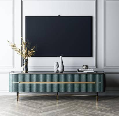 电视柜, 摆件组合, 电视