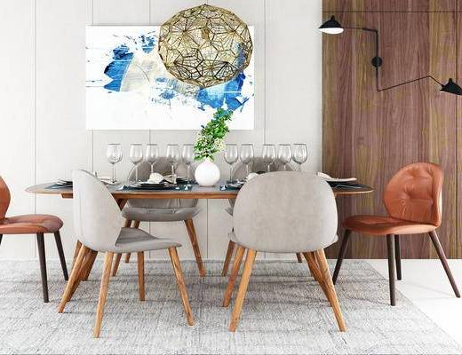 美式简约, 美式餐桌, 简约餐桌, 餐桌组合, 餐桌, 美式, 下得乐3888套模型合辑