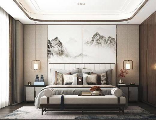 双人床, 背景墙, 衣柜, 吊灯, 床头柜