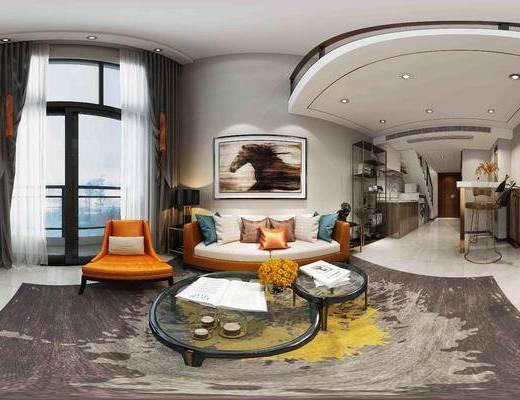后现代客厅全景, 后现代沙发组合, 茶几, 摆件, 挂画, 装饰柜, 边柜, 吧台椅组合
