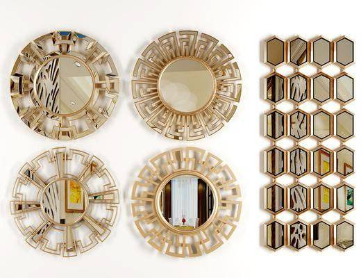 装饰镜, 后现代金属装饰镜, 金属, 墙饰