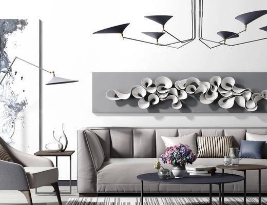 现代沙发茶几组合, 现代时尚吊灯, 圆几, 墙面装饰, 装饰摆件, 现代