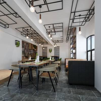 餐厅, 桌椅组合, 餐桌椅, 餐饮, 工业风, 咖啡厅