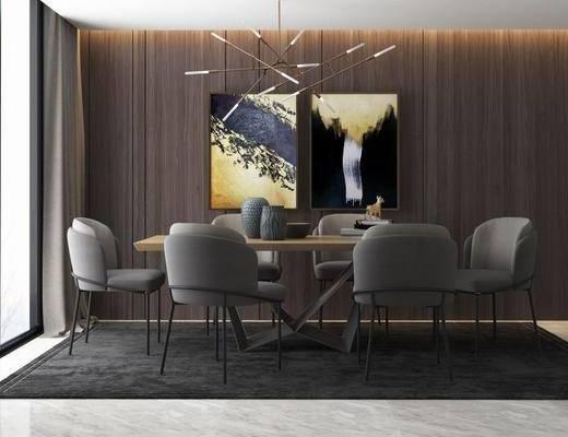 美式简约, 美式餐厅, 美式桌椅, 桌椅组合, 桌椅, 美式, 下得乐3888套模型合辑