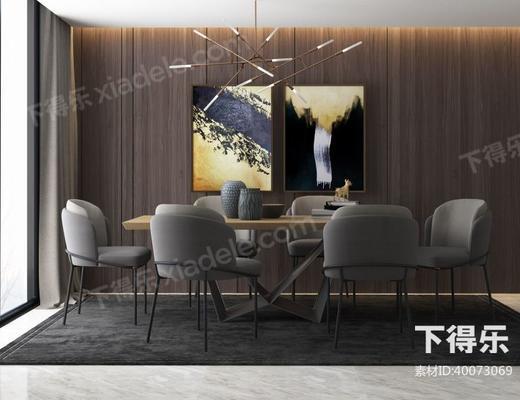 美式简约, 美式餐厅, 美式桌椅, 桌椅组合, 桌椅