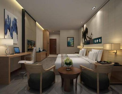 酒店客房, 现代酒店客房3d模型, 单人床, 桌椅组合