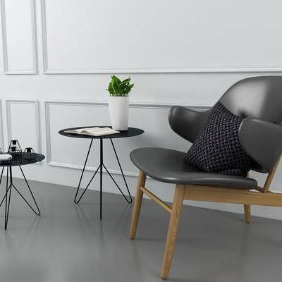 单人椅, 茶几, 摆件, 盆栽, 北欧