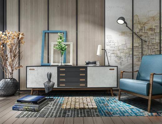 新中式, 电视柜, 相框, 摆件, 灯具, 休闲椅, 书籍, 花瓶