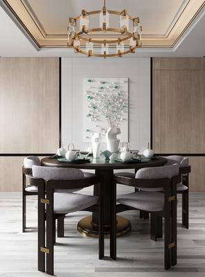 餐厅, 桌椅组合, 餐具组合, 装饰画