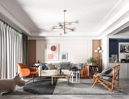 沙发组合, 茶几, 装饰画, 吊灯, 桌椅组合, 单椅