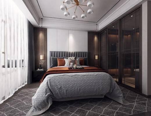 双人床, 衣柜, 吊灯, 窗帘, 床头柜