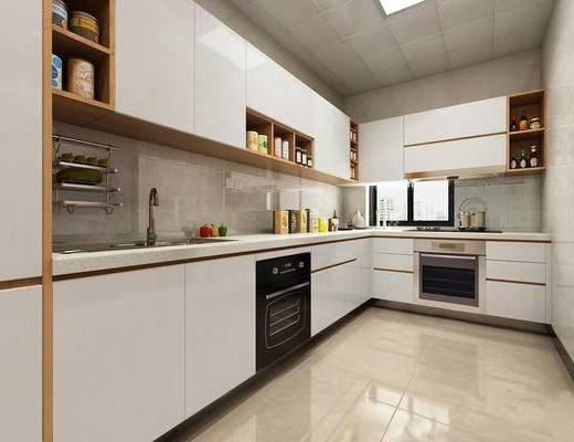 现代, 厨房, 橱柜, 厨具, 食品