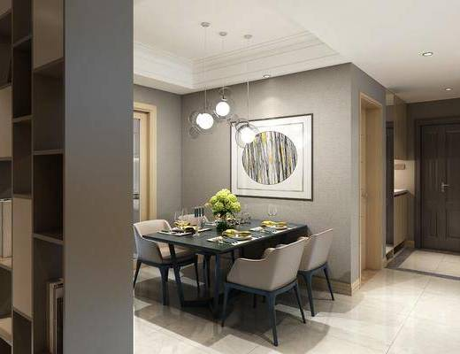 客廳, 餐廳, 沙發組合, 沙發茶幾組合, 邊柜組合, 掛畫組合, 吊燈, 擺件組合, 廚房, 餐桌椅組合, 裝飾柜, 裝飾品, 陳設品, 櫥柜組合, 廚具組合, 現代