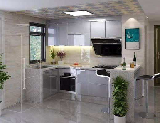 厨房, 橱柜, 厨具, 装饰画, 吧台, 吧椅, 单人椅, 挂画, 现代