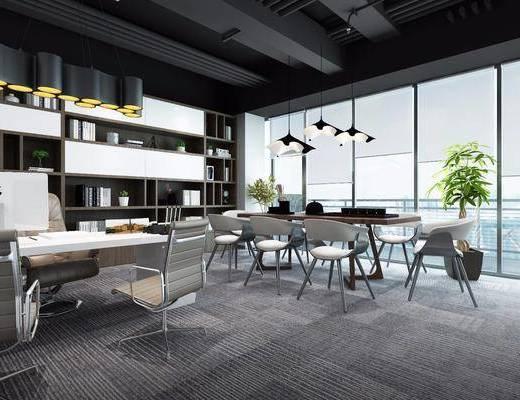 桌椅組合, 吊燈, 書柜, 書架, 擺件組合