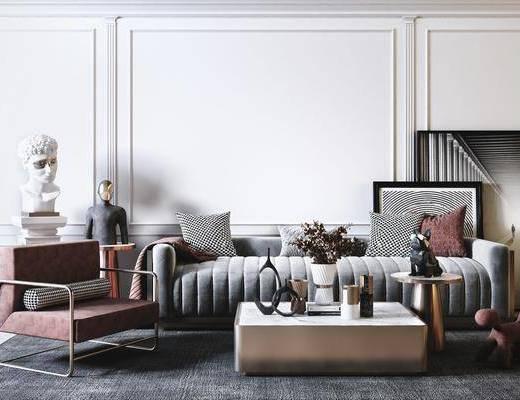 沙发组合, 单椅, 茶几, 装饰画, 摆件组合