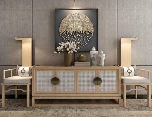 端景台, 摆件组合, 桌花, 装饰画, 单椅