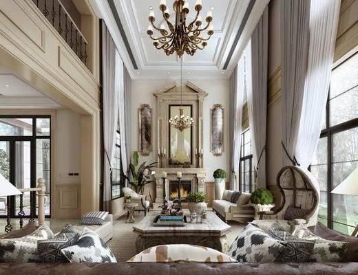 客厅, 多人沙发, 边几, 台灯, 茶几, 吊灯, 盆栽, 落地灯, 单人沙发, 摆件, 装饰品, 陈设品, 美式