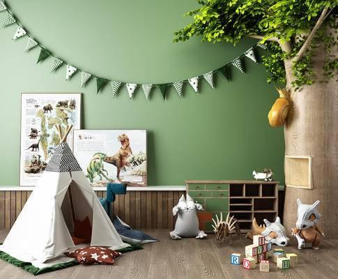 儿童玩具, 儿童假树, 儿童帐篷, 布娃娃, 儿童边柜, 蜗牛, 早教中心