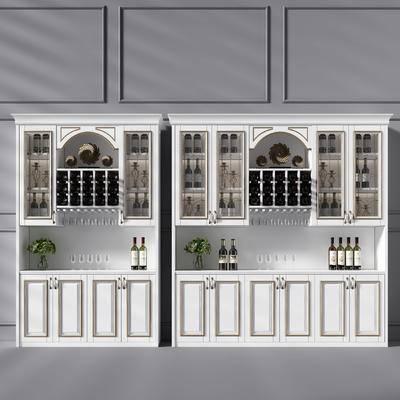 欧式酒柜, 酒柜, 酒瓶, 酒, 杯子, 摆件