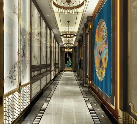 走廊, 过道, 墙饰, 吊灯