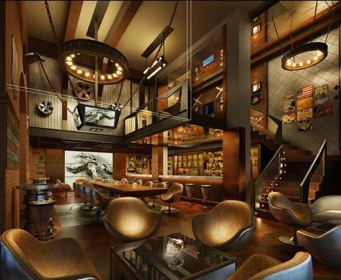 现代, 酒吧, 楼梯, 灯具, 摆件, 美式