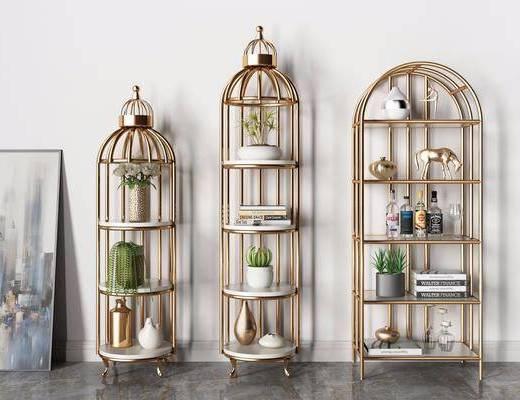 鸟笼, 书架, 装饰画