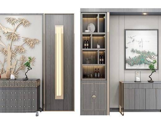 装饰柜, 边柜, 酒柜, 装饰画, 挂画, 壁灯, 墙饰, 装饰品, 陈设品, 摆件, 新中式