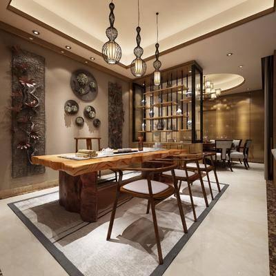 中式餐厅, 中式, 餐厅, 餐桌椅, 椅子, 墙饰, 架子, 吊灯, 中式吊灯